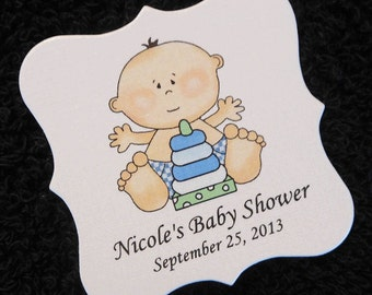Personalized Baby Shower Favor Tags, baby boy with stack toy, set of 20