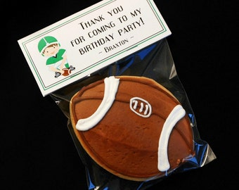Personalized Birthday Party Favor Label and Bag Set, football player in green uniform, dark hair, set of 30 labels and 5 X 7 bags