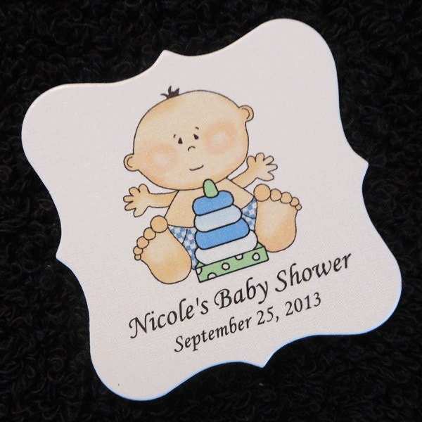 personalized baby shower favor tags baby boy with stack toy
