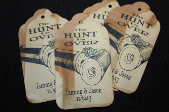 The Hunt is Over Personalized LARGE Wedding Favor Tag choose your amount
