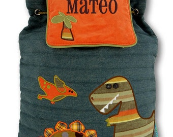 Children Personalized Backpack Dino Stephen Joseph Quilted Monogrammed Dinosaur