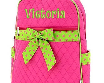 Personalized Backpack Pink Lime Polka Dots Quilted Monogrammed