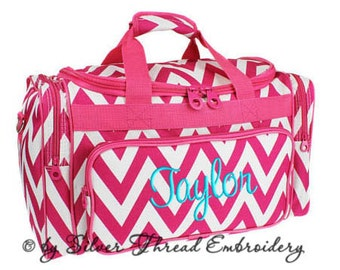 Personalized Duffle Bag Chevron Hot Pink White Ballet Dance Travel