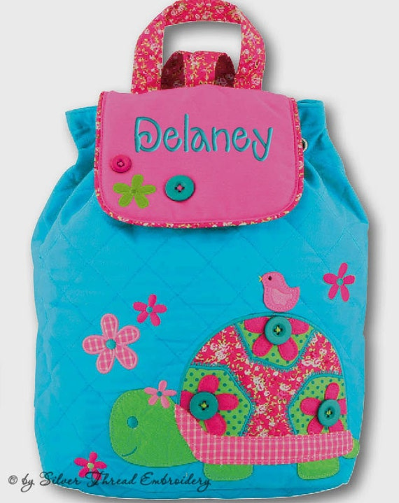 Girls Personalized Backpack Turtle Stephen Joseph Quilted