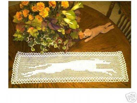 AerieDesigns Greyhound TABLE RUNNER Filet Crochet Doily PDF Pattern Whippet Dog