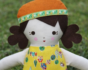 SALE Lil Sister Sprinkles Brown Hair Handmade Rag Doll (sunny day print) With Removable Beret