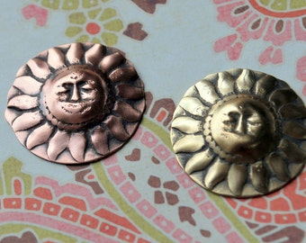 "Qty 4 Comes the Sun 1"" Sun Medallion in Copper or Brass Free US Shipping"