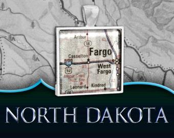 Fargo, ND Map Pendant