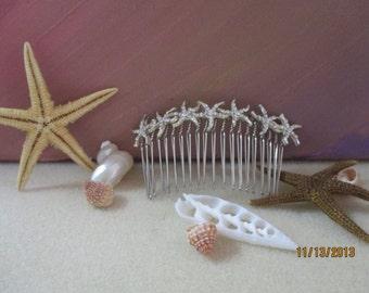 Starfish Hair Comb, Bridal,Rhinestones,Handmade, Prom, Special Event, Beach Wedding HC00