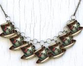 Color Teacup Charm Necklace