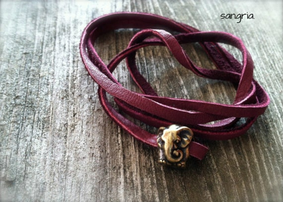 RESERVED FOR KIM : turquoise lucky elephant leather wrap bracelet elephant jewelry elephant bracelet friendship bracelet layer stack