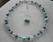 SALE Teal Blue and Silver Mix Floating Beads Necklace and Earrings