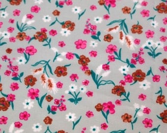 SALE vintage 80s fabric featuring  pretty pink and brown floral print on gray, 1 yard, 2 available priced PER YARD