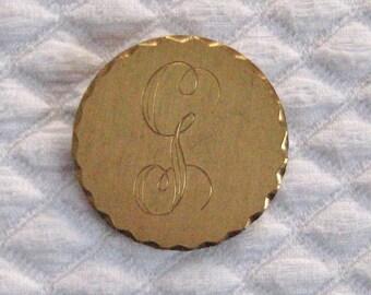 """Initial """"G"""" Brooch . 12KT GF Brooch . Initial G . monogram brooch . monogram G brooch"""