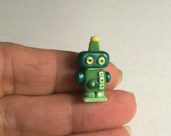 Green Metallic Robot Toy OOAK Hand Sculpted 1:12 Dollhouse ScaleTiny Robot Figurine Doll