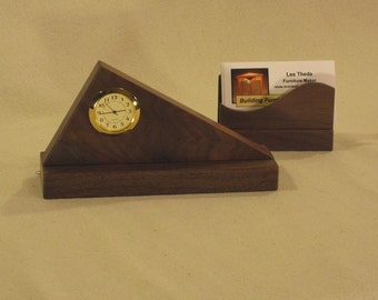 Triangle Desk Clock, Walnut with Business Card Holder