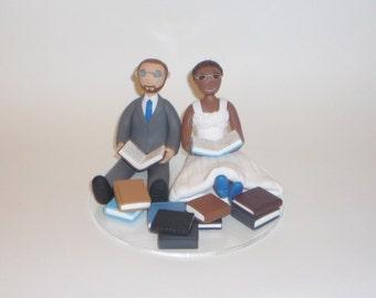 Custom Wedding Cake Topper - book, reading, video game, mini cake, doctor and ranger samples