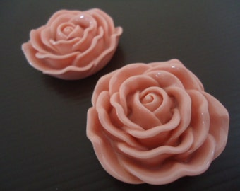 Discount Special : 45mm Peach Resin Rose Flower Beads (2x)