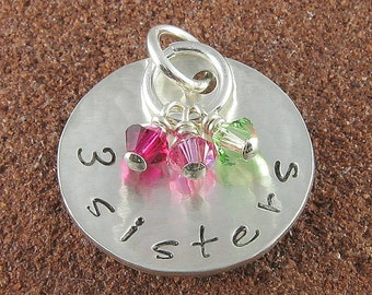 Two Sisters,Three Sisters,Four Sisters Sterling Silver Charm with Swarovski Birthstone Crystals