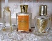 Antique 3 Mini Perfume Bottles Miniature Lenel Carressant Parfume Pheromone White Shoulders