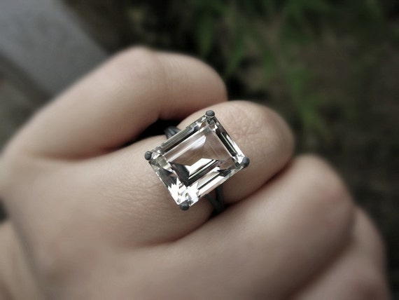 Emerald Cut Herkimer Diamond Ring Sterling Silver Ring