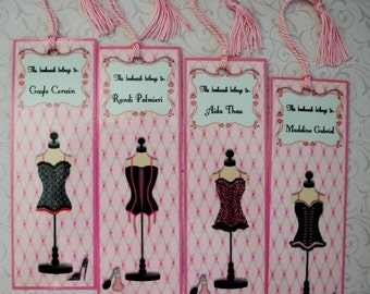 Sexy - LINGERIE - BRIDAL ShOWER - Bridesmaid Favors - Personalized Bridal Gifts - Laminated Bookmarks - Party Favors - Set of 8 - BBM 778