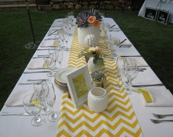 YELLOW CHEVRON RUNNER- Zigzag yellow and white zig zag table runner,  Chevron sun yellow
