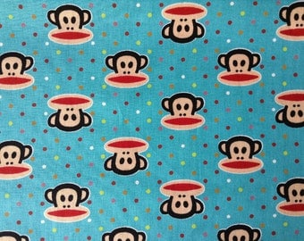 3440 - Monkey Polka Dot Cotton Fabric - 43 Inch (Width) x 1/2 Yard (Length)
