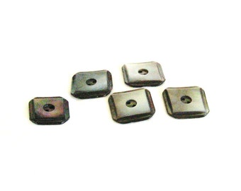 Buttons, Mother of Pearl, grey, taupe, 2 hole sew thru, square, 5 each, C, destash
