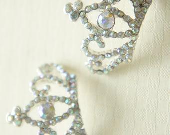 1 pc Big Silver Plated Metal Crown Motif/Cabochon  AB CLEAR rhinestones (25mm33mm) AZ036