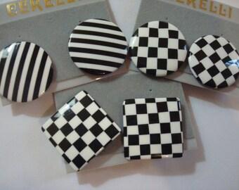 3 pr black white pierced earrings Vintage 80s 90s New Old Stock