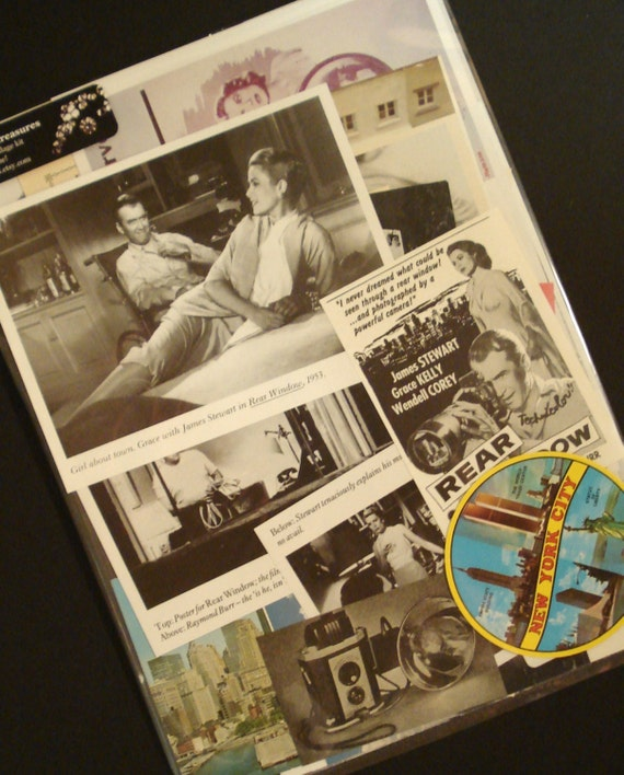 Rear Window Classic Hitchcock Thriller Movie Collage and Scrapbook Kit Starring Jimmy Stewart and Grace Kelly Number 1878
