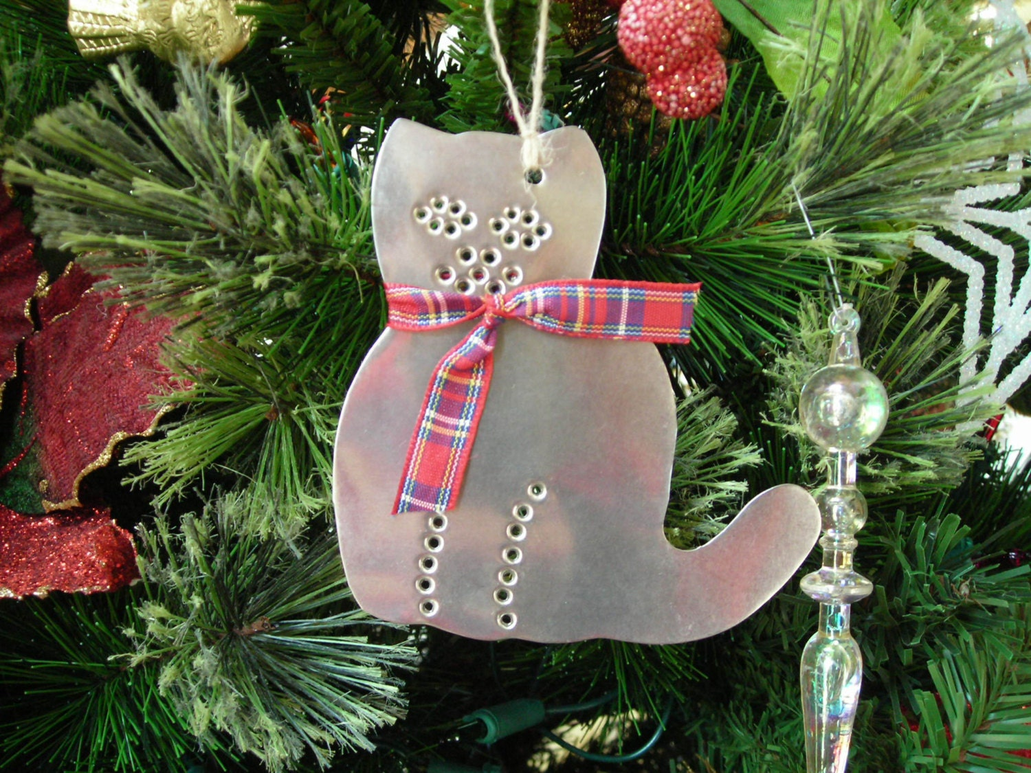 Cat Ornament Old Fashioned Rustic Tin Punch Hand Cut By Larry