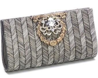 SALE 33% OFF - beaded metal herringbone clutch purse handbag vintage industrial