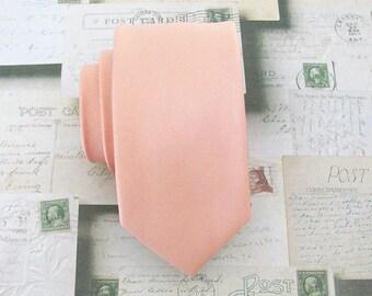 Peach Tie. Mens Tie Light Peach Skinny Tie With Matching Pocket Square Option