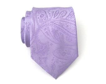 Lavender Tie. Necktie Lavender Purple Paisley Mens Tie With Matching Pocket Square Option