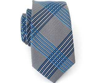 Necktie Gray and Blue Plaid Mens Skinny Tie