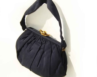 Vintage 30s Handbag Navy Blue Faille Art Deco Purse Pocketbook Evening Cocktail