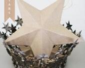 Paper Mache 3D Kraft Star Ornament 8 inch