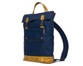 Backpack in Navy Blue Canvas and Honey Mustard Yellow Brown Leather Accents - Rucksack Bag - Back to School - Made to Order