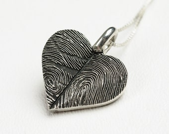 Fingerprint Heart Necklace Personalized Sterling Silver Thumbprint Jewelry