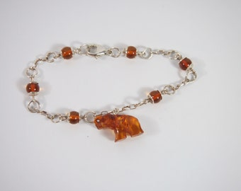 Amber Elephant Sterling Silver Charm Bracelet Vintage 90s Jewelry