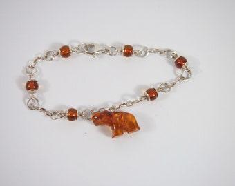 Amber Elephant Sterling Silver Charm Bracelet Vintage 90s Jewelry