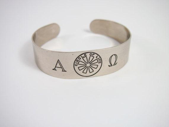 Alpha Omega Circle Of Life Cuff Bracelet 70s Vintage Jewelry