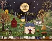 """Sleepy Town 11""""x14"""" PRINT by Leslie Berg"""