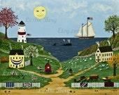 "11""x14"" PRINT New England Town by Leslie Berg Companion Print to Sleepy Town"