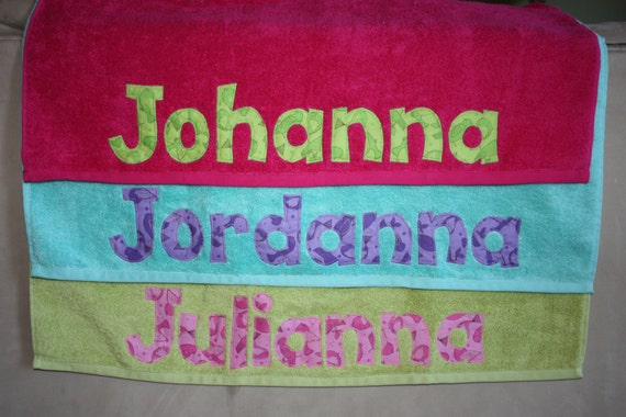 Girls personalized towel