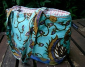 Turquoise tote bag hand created using vintage textiles