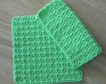Lime Crochet Cotton Dishcloth set of 2
