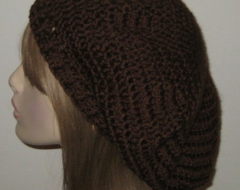 Chocolate Slouchy Beret Dread Tam